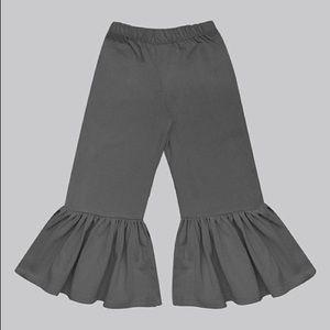 Girls Charcoal Gray Boho Ruffle Pants